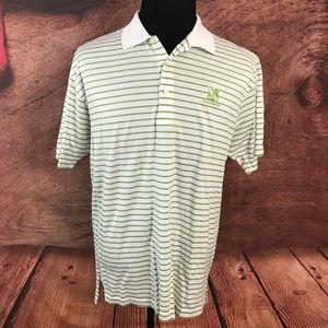 Peter Millar White Striped Green Blue Polo Shirt L